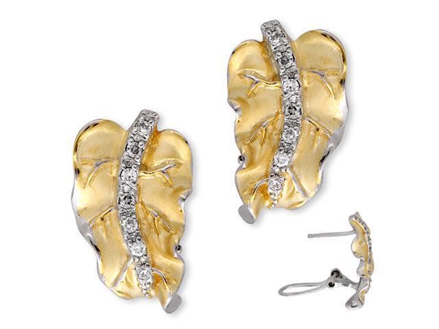 C.Z. Mate Vermeil Plated Leaf Shape (.925) S/S Earrings
