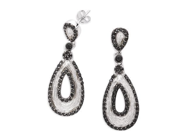 Matte Rhodium Hanging With Onyx C.Z. Set Around A Tear-Drop Shape S/S Earrings
