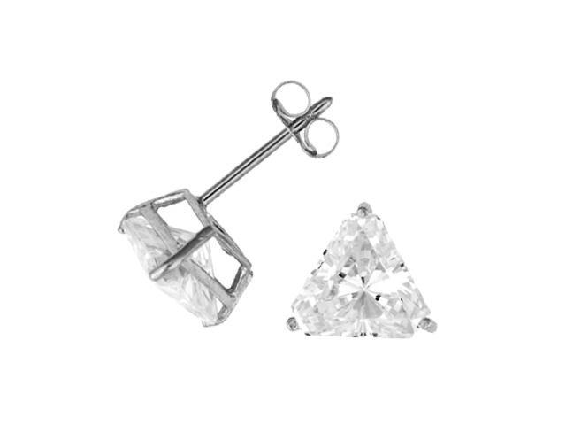 C.Z. Bridal Rhodium Triangle Post (.925) S/S Earring