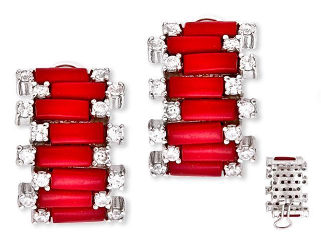 Trendy Simulated Coral C.Z. Diamond Brick Design Earrings