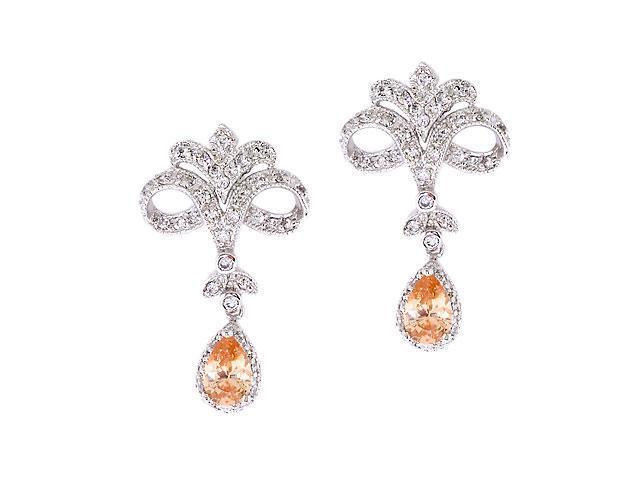 Vintage C.Z. Diamond Citrine S/S Chandelier Earrings
