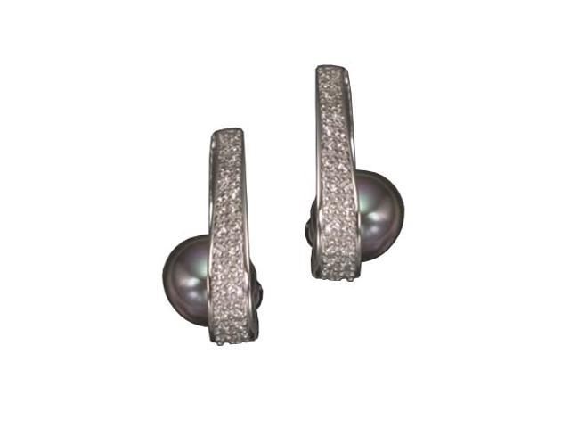 C.Z. And Gray Pearl Rhodium Plated (.925) S/S Earring