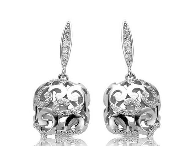 C.Z. Square Drop Beautifully Rhodium Plated (.925) S/S Earrings