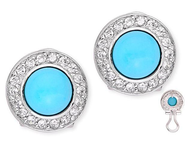 Vivid Simulated Turquoise Cabochon C.Z. Circle Stud Earrings