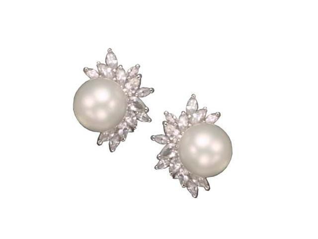 C.Z. And White Pearl Rhodium Plated (.925) S/S Earrings