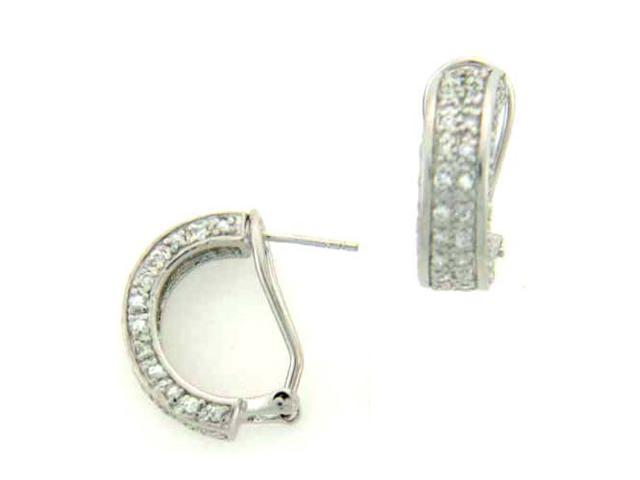 C.Z. (.925) S/S Hoop Clip And Post Rhodium Plated Earrings
