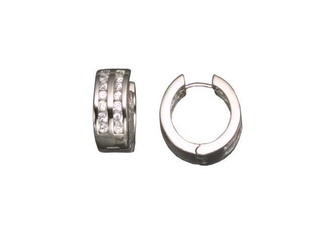 C.Z. Double Round Rhodium Plated (.925) S/S Earrings