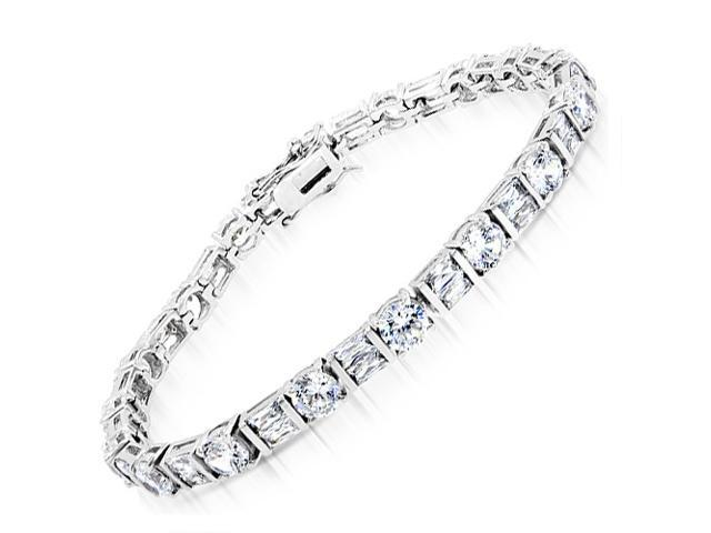 Classic C.Z. 4.5Mm Diamond Sterling Silver Tennis Bracelets