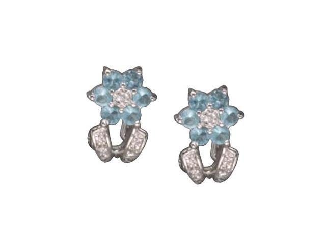 C.Z. And B/Topaz Clip Post Rhodium Plated (.925) S/S Earrings