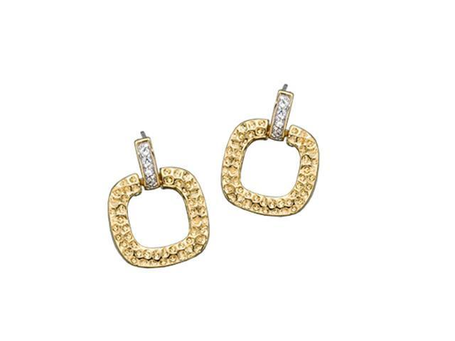 C.Z. (925) S/S Square Hammered Earrings