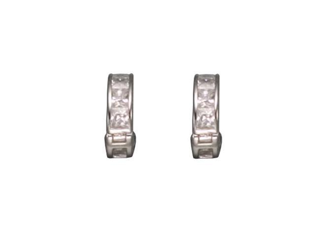 C.Z. Princess Cut Hughie Rhodium Plated (.925) S/S Earrings
