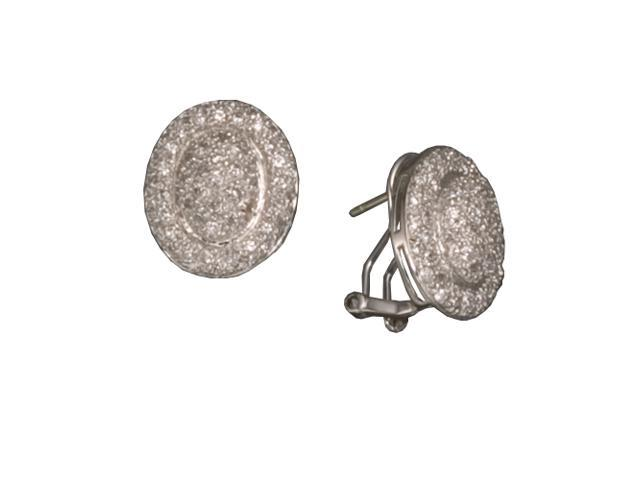 C.Z. Oval Clip Post Rhodium Plated (.925) S/S Earrings