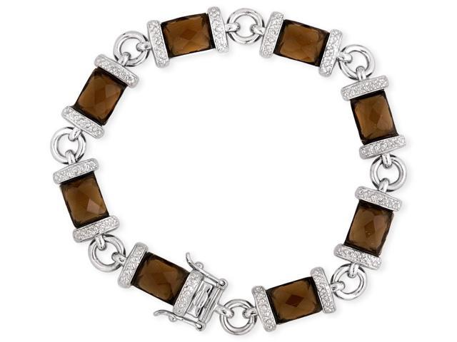 Faceted Simulated Smoked Topaz .925 Sterling Silver Bracelet