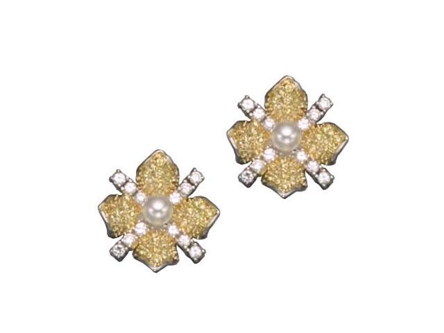 C.Z. Yellow Citrine And Pearl Rhodium Plated (.925) S/S Earrings