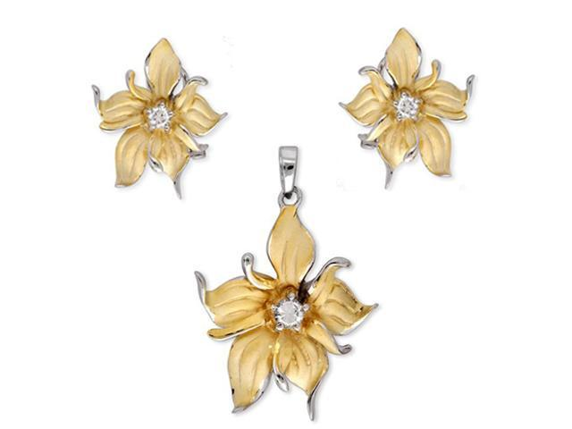 Cz Vermeil Gold Plated Flower Earrings And Pendant Set