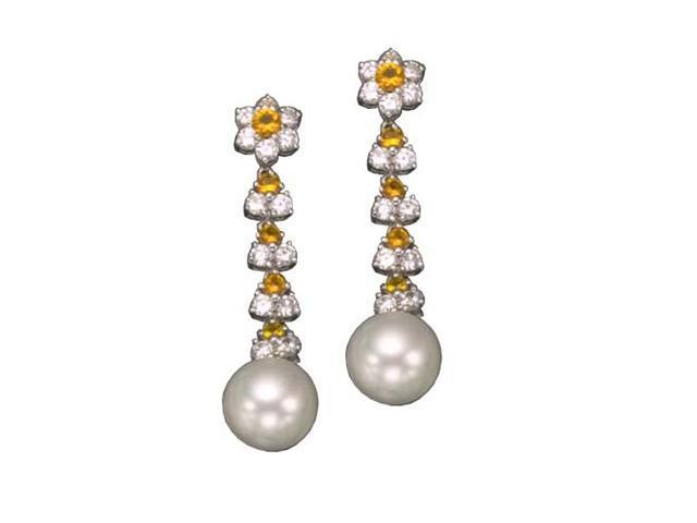 C.Z. Yellow Pearl Rhodium Plated (.925) S/S Earrings