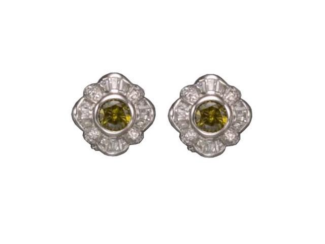 C.Z. And Peridot Clip Post Rhodium Plated (.925) S/S Earrings