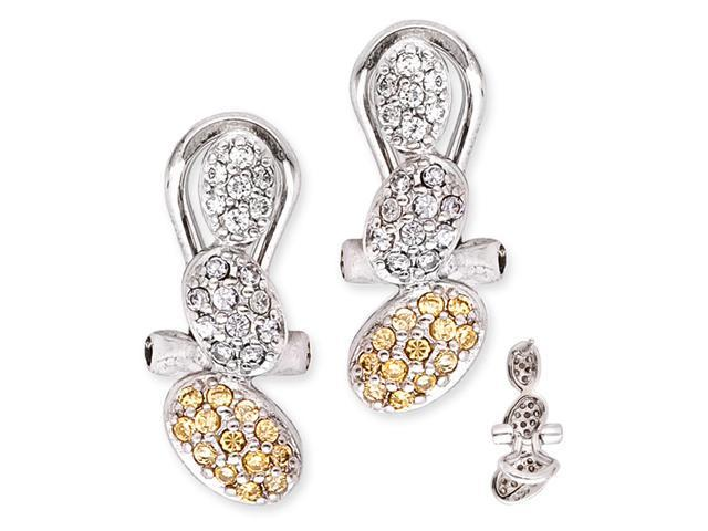 C.Z. With Yellow Citrine Stones Set Into A Triple Nut Shape S/S Earring