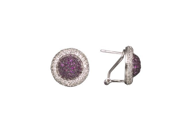 C.Z. And Ruby Rhodium Plated (.925) S/S Earrings