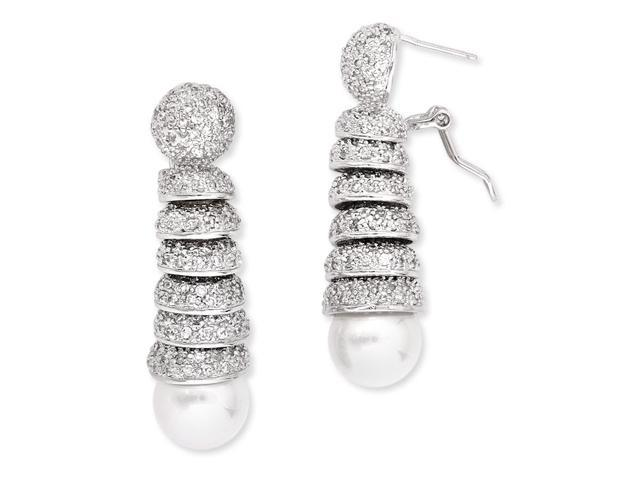 C.Z. Spiral Dangling Down Ending With A Round Pearl Rhodium (.925) S/S Earrings