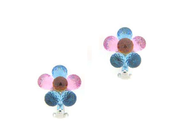 C.Z. (.925) S/S Multi Color Flower Rhodium Plated Earrings