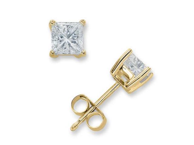 4Ct Square C.Z. Diamond Stud (.925) Silver Vermeil Plated Earring Melanie Trump