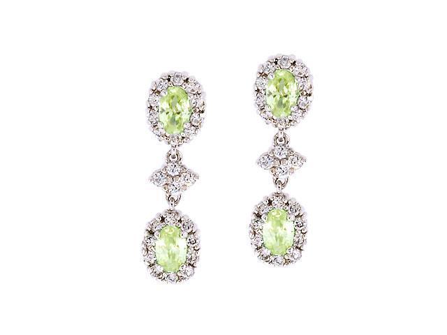 Oval Drop C.Z. Light Peridot Diamond S/S Earrings