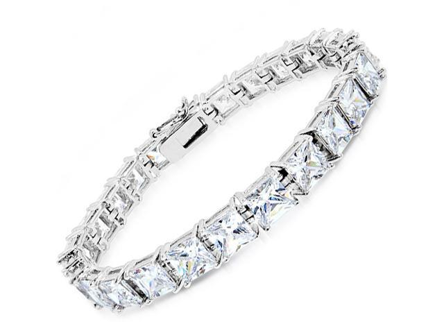 C.Z. 5Mm Square  (.925) Sterling Silver Bracelet