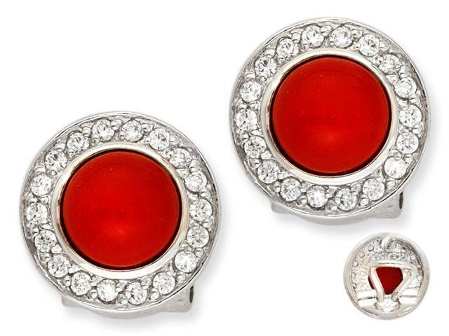 Vivid Simulated Coral Cabochon C.Z. Circle Stud Earrings