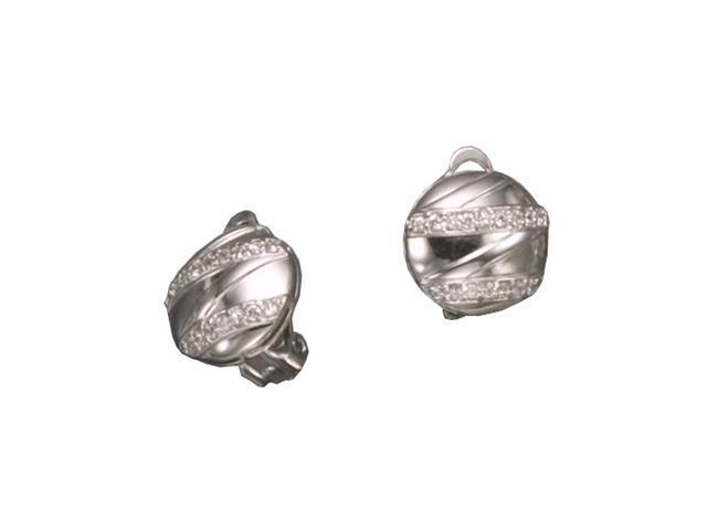 C.Z. Button Shiny Zigzag Rhodium Plated (.925) S/S Earrings