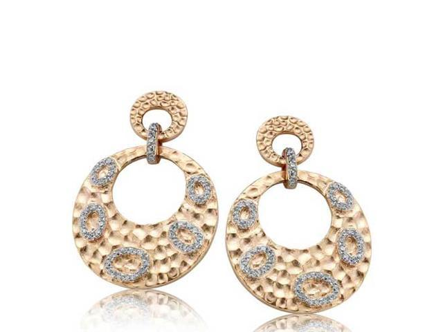 C.Z. Round Hammered Drop Fashion Rose Plated (.925) S/S Earrings