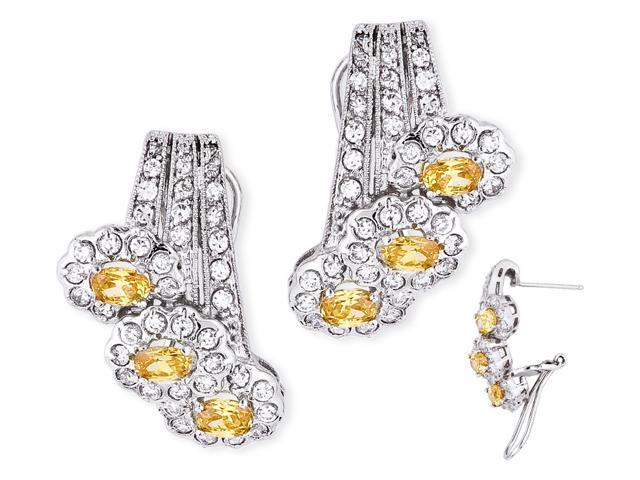 Oval Simulated Canary C.Z. Diamond S/S Earrings