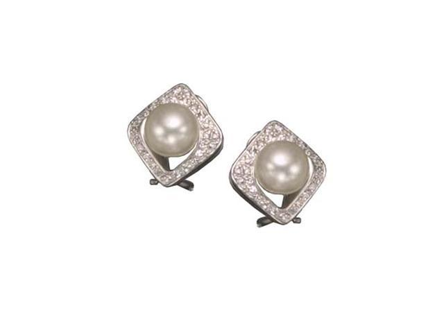 C.Z. And Pearl Rhodium Plated (.925) S/S Earrings
