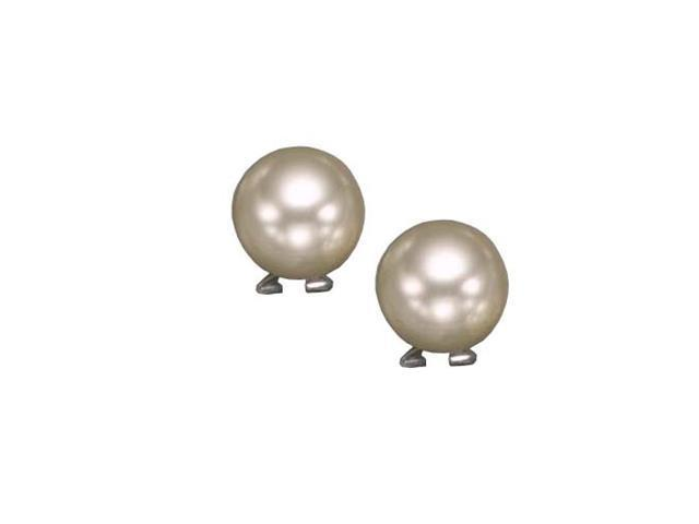 14Mm Pearl Rhodium Plated (.925) S/S Earrings