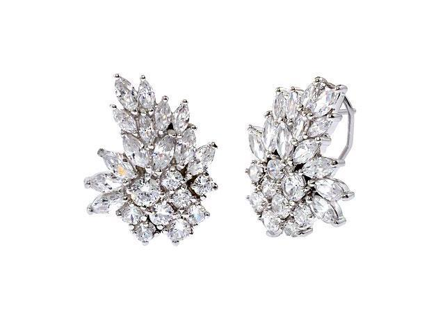 Marquise Round C.Z. Diamond Silver Cluster Earrings