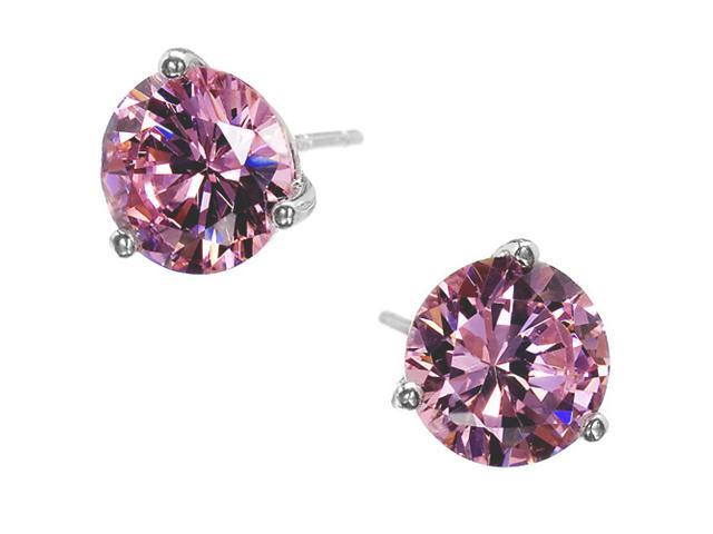 4Ct Tw Lavender C.Z. Gold Plated Basket Setting (.925) S/S Stud Earrings