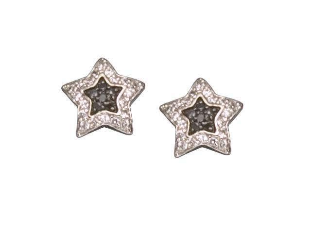 C.Z. And Black Star Rhodium Plated (.925) S/S Earrings