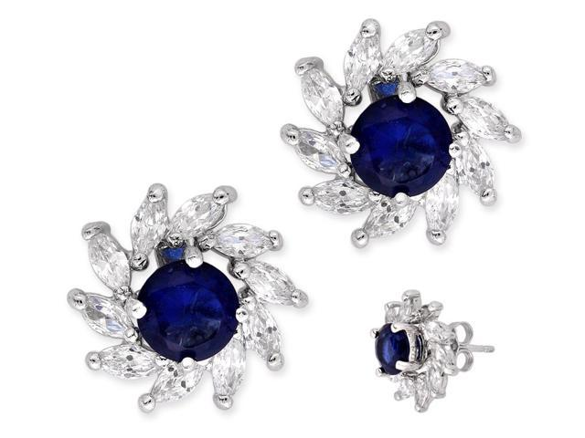 Prong Set Round C.Z. Sapphire Marquise Diamond Silver Stud Earrings
