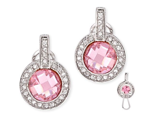 C.Z. Pink Sapphire Diamond S/S Circle Earrings