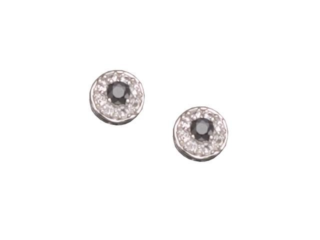 C.Z. Gem Sapphire Stud Rhodium Plated (.925) S/S Earrings