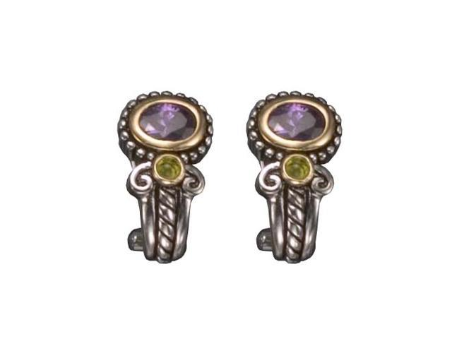 C.Z. Amethyst And Peridot Clip Rhodium Plated (.925) S/S Earrings