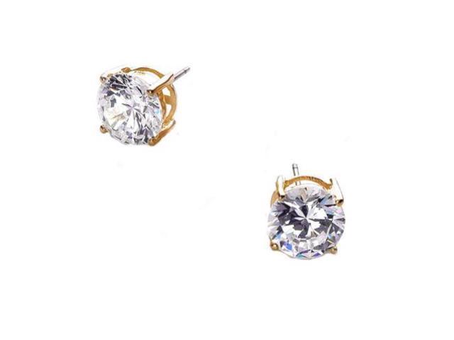 5Ct Tw Cubic Zirconia Diamond Vermeil Basket Setting (.925) S/S Stud Earrings