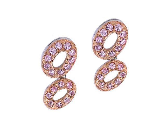 Oval Link Bubble Rose Gold C.Z. Pink Sapphire Earrings