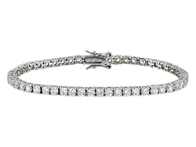 Julie'S 4Mm Sterling Silver C.Z. Diamond Tennis Bracelet