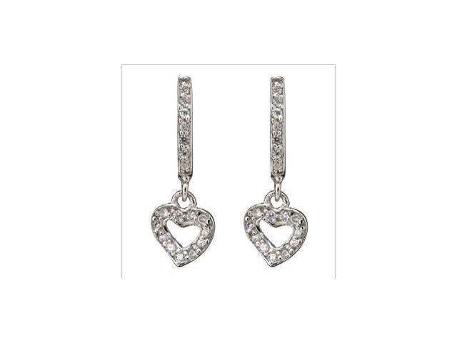 Small Dainty Dangling Heart Set With C.Z. S/S Earrings