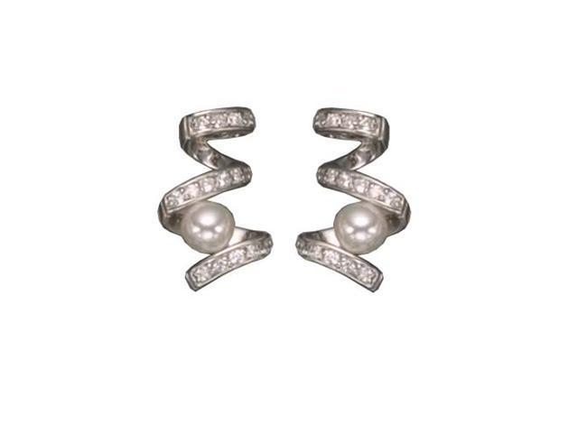 C.Z. Pearl Swirl Rhodium Plated (.925) S/S Earrings
