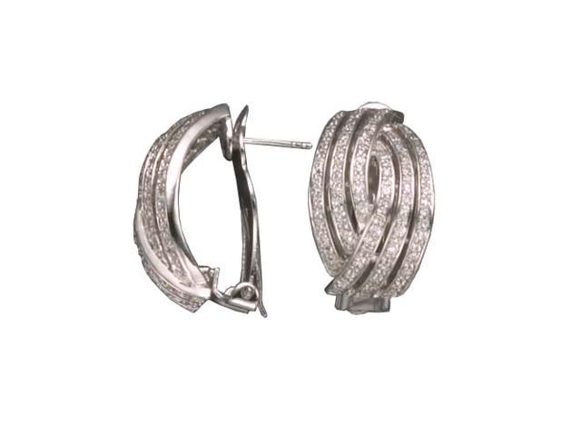 C.Z. Curved Rhodium Plated (.925) S/S Earrings