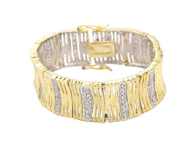 White C.Z. (.925) Sterling Silver Two Tone Plated Bracelet (July 4Th Special)