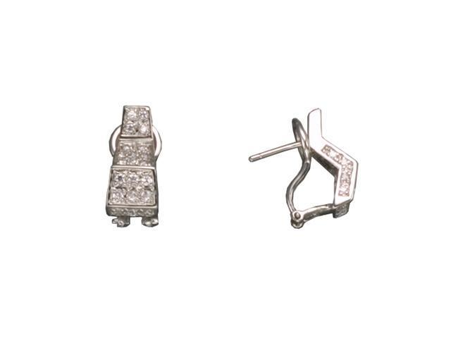C.Z. Pave Clip Rhodium Plated (.925) S/S Earrings