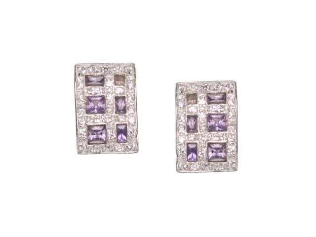 C.Z. And Amethyst Rhodium Plated (.925) S/S Earrings